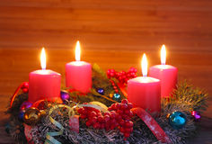 Advent wreath with four candles Royalty Free Stock Photos