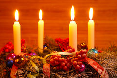 Advent wreath with four candles Stock Images