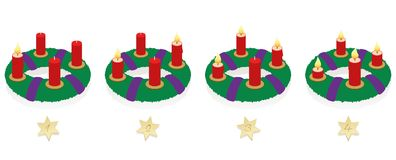 Advent Wreath On Four Sundays Burning Candles. Advent wreath with one, two, three and four lighted red candles in different lengths depending on burning time in Royalty Free Stock Image