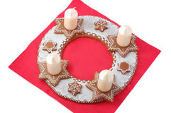 Advent wreath from gingerbread detail on red Royalty Free Stock Images