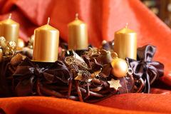 Advent wreath with gold candles Royalty Free Stock Photo