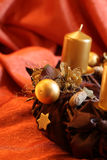 Advent wreath with gold candles Royalty Free Stock Image