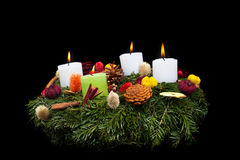 Advent wreath isolated on black Stock Photos