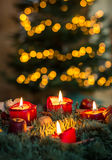 Advent wreath. With lit candles Stock Photos