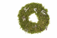 Advent wreath made out of moss, isolated Royalty Free Stock Images