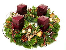 Advent wreath with maroon candles Royalty Free Stock Images
