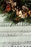 Advent wreath on music notes Royalty Free Stock Photos