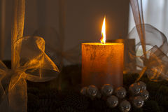 Advent wreath with one burning candle Royalty Free Stock Photography