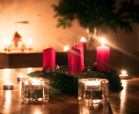 Advent wreath. With one burning candle Royalty Free Stock Photos