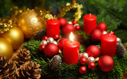 Advent wreath with one burning candle Royalty Free Stock Images