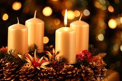 Advent wreath. With one candle lit Royalty Free Stock Images