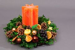 Advent wreath with orange candle Royalty Free Stock Photography