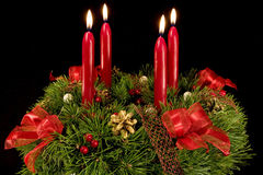Advent wreath over black Stock Photo