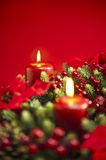 Advent wreath over red background Stock Images