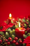 Advent wreath over red background Stock Photo