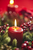 Advent wreath over red background Stock Image
