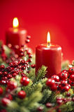 Advent wreath over red background Stock Photography