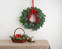 Advent wreath over side board with angel Stock Photos