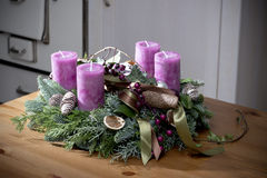 Advent wreath with purple candles Royalty Free Stock Photos