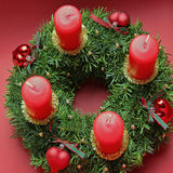 Advent wreath with red candles and hearts stock images
