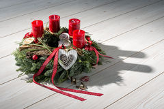 Advent wreath with red candles Stock Photo