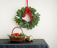 Advent wreath with red ribbon Stock Images