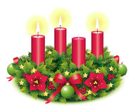 Advent Wreath Three burning candle. Advent, Advent wreath,second advent, 3, third burning candle, christmas star, Christmas baubles, Christmas balls, Christmas Royalty Free Stock Images