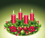 Advent Wreath Three burning candle. Advent, Advent wreath,second advent, 3, third burning candle, christmas star, Christmas baubles, Christmas balls, Christmas Royalty Free Stock Image