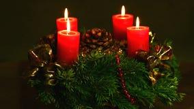 Advent wreath on turn table stock video