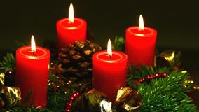 Advent wreath on turn table stock footage