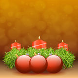 Advent wreath of twigs with red candles and various ornaments. Illustration Stock Image
