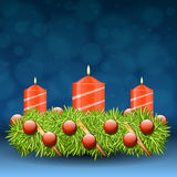 Advent wreath of twigs with red candles and various ornaments. Illustration Royalty Free Stock Image