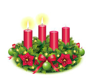 Advent Wreath Two burning candle. Advent, Advent wreath,second advent, 2, two burning candle, christmas star, Christmas baubles, Christmas balls, Christmas tree Stock Photo