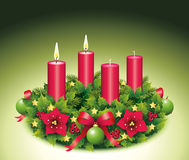 Advent Wreath Two burning candle. Advent, Advent wreath,second advent, 2, two burning candle, christmas star, Christmas baubles, Christmas balls, Christmas tree Royalty Free Stock Images
