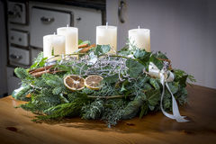 Advent wreath with white candles Stock Images