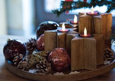 Advent wreath. Wooden advent wreath with electric candles Royalty Free Stock Photo