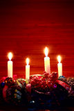 Advent wreath on wooden table Royalty Free Stock Images