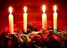 Advent wreath on wooden table Stock Photography