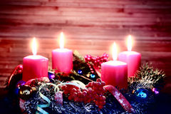 Advent wreath on wooden table Stock Image