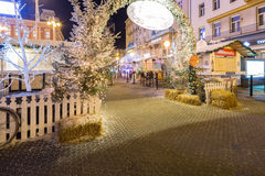 Advent in Zagreb, Croatia. Festive decorated Christmas fair and fast food stands in Zagreb Central Square of Ban Jelacic. ZAGREB, CROATIA ON 28 DECEMBER 2016 royalty free stock photos