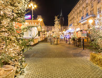 Advent in Zagreb, Croatia. Festive decorated Christmas fair and fast food stands in Zagreb Central Square of Ban Jelacic. ZAGREB, CROATIA ON 28 DECEMBER 2016 royalty free stock photography