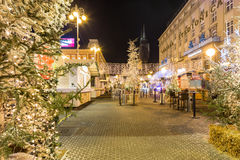 Advent in Zagreb, Croatia. Festive decorated Christmas fair and fast food stands in Zagreb Central Square of Ban Jelacic. ZAGREB, CROATIA ON 28 DECEMBER 2016 royalty free stock images