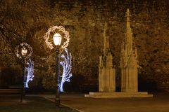 Advent in Zagreb, Croatia, Street lights with Christmas decoration in front of Zagreb cathedral Royalty Free Stock Image