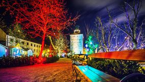Advent Zagreb Gric tower Croatia Christmas lights. Christmas lights on Upper town in Zagreb Croatia on Advent 2018 Royalty Free Stock Images