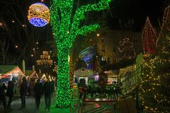 Advent in Zagreb - Night view from the Strossmayer Promenade at royalty free stock image