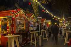 Advent in Zagreb - Night view from the Strossmayer Promenade at stock images