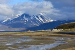 Adventdalen dal i Spitsbergen, Svalbard Arkivbild