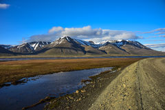 Adventdalen, Einführungstal, Spitzbergen, Svalbard Lizenzfreie Stockbilder