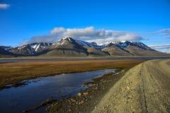 Adventdalen, valle di arrivo, Spitsbergen, le Svalbard Immagini Stock Libere da Diritti