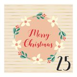 Adventkalender med för vektorjul för hand den utdragna illustrationen för ferie för December 25th Mistelblommakrans För affisch b stock illustrationer